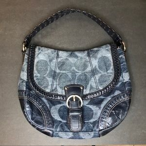 Coach Denim & Leather Monogram Flap Shoulder Bag